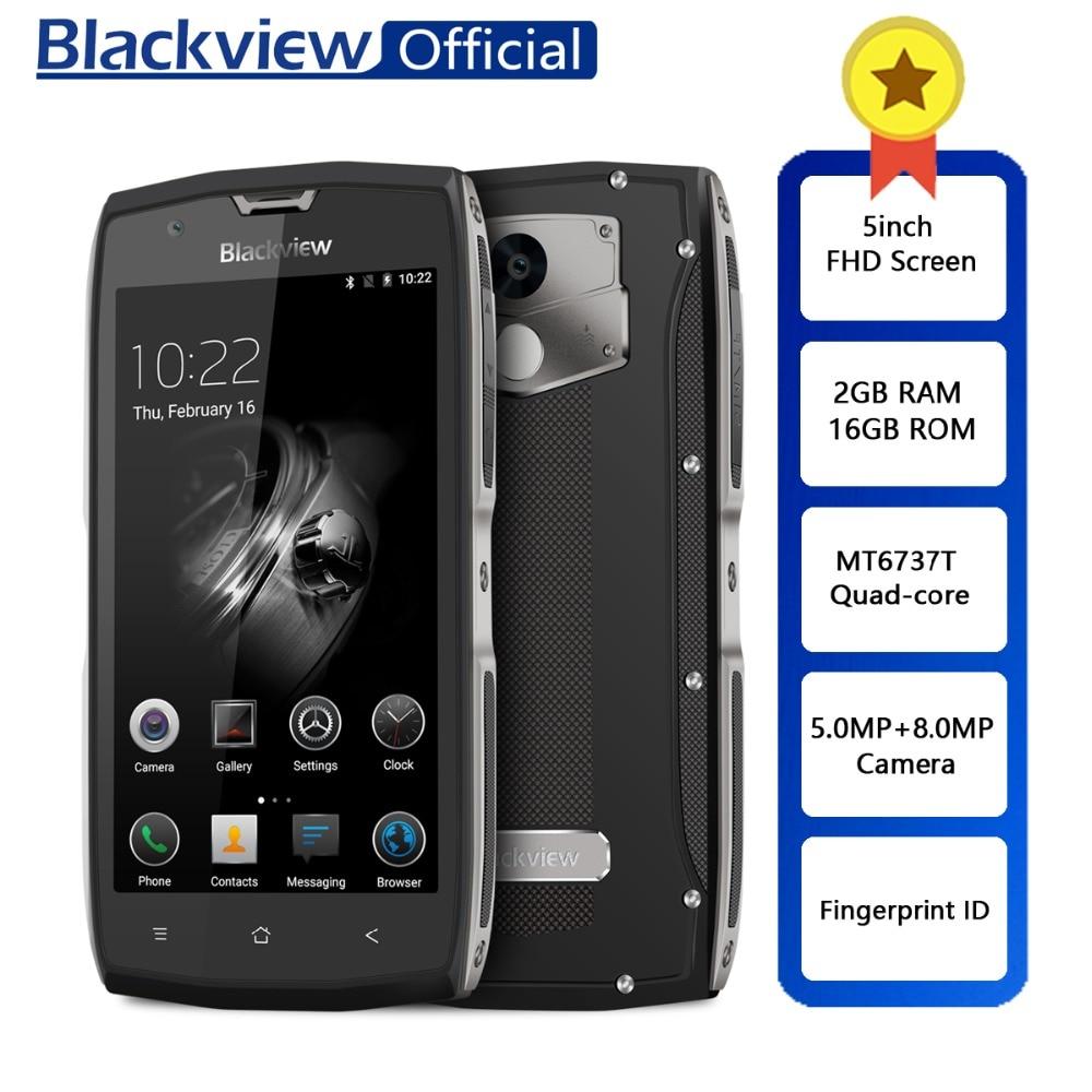 Blackview BV7000 IP68 MT6737T Smartphones À Prova D' Água Quad Core 2GB + 4 16GB 5 polegada FHD NFC Tela Da Impressão Digital G Dual SIM Celular