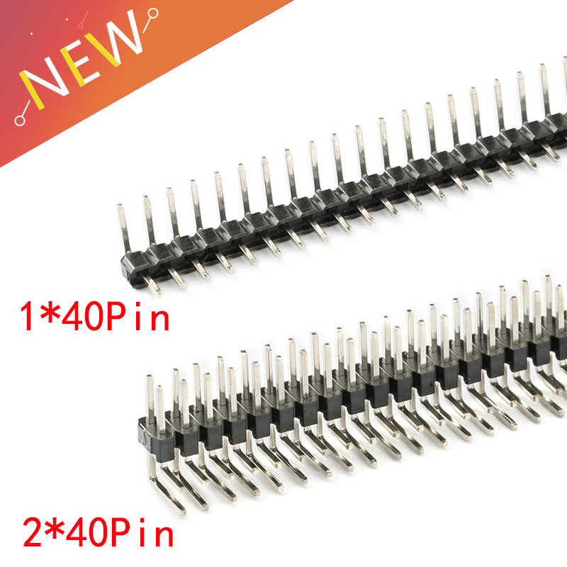 10pcs /Lot 2.0mm Pitch 2.0 Male Single/ Double Row Curved Needle Pin Header 1x40 2x40 Pin Connector 2.00mm 90 Degrees