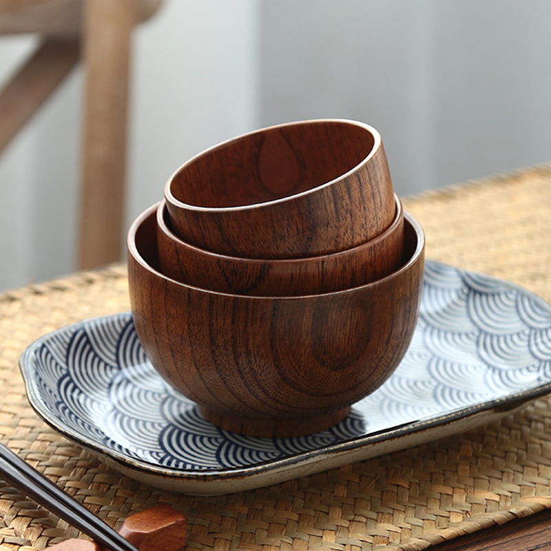 Solid Wood Bowls Vintage Wooden Rice Soup Bowls Kids Adults Dining Bowl Miso Dips Fruit Food Container Kitchen Wooden Utensils (4)
