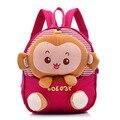 2016 Cute  Animal Monkey Little Children Backpacks Kids Boys Schoolbag Kindergarten Baby Girls Shoulder Bags Mochila Escolar