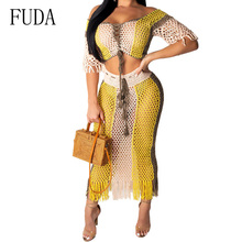 FUDA Plus Size XXL Sexy Two Piece Set Beach Dresses Elegant Hollow Out Grid Off Shoulder Tassel Dress Summer Casual Beachwear