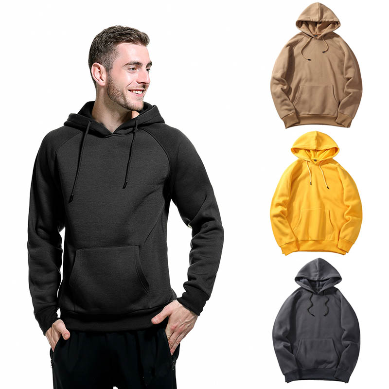 New Arrival Man Autumn Winter Pullover Hoodie Bib Pockets Long Sleeve Solid Color Sweatershirt in Hoodies amp Sweatshirts from Men 39 s Clothing
