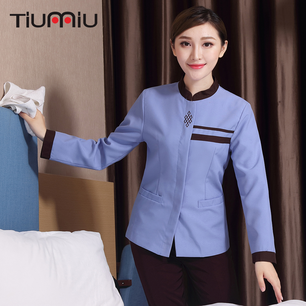 Chinese Knot Embroidery Worker Cleaning Workwear Uniform Long Sleeve Housekeeping Cleaning Service Uniforms Women Waiter Jackets