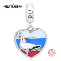 FirstQueen 925 Silver Russia Flag Patriotic Enamel Charm Pendant Fits Brand Bracelet Bangles Aliexpress Free Shipping