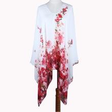 Fashion flower printed chiffon dress Beach tunic summer cloth poncho oversize dress swimmingsuit