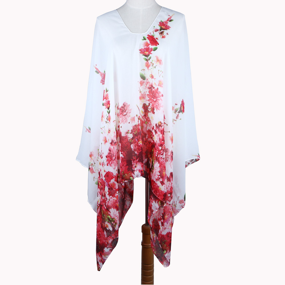 Fashion flower printed chiffon font b dress b font Beach tunic summer cloth poncho oversize font