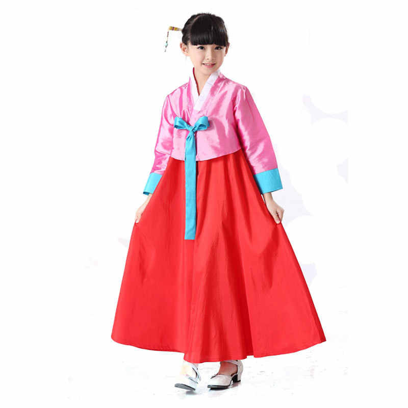 a4adebc05 ... National Baby Girls Dance Performance Clothes Traditional Korean  Clothing Kids Hanbok Dress Full Sleeve 2PCS Cosplay ...