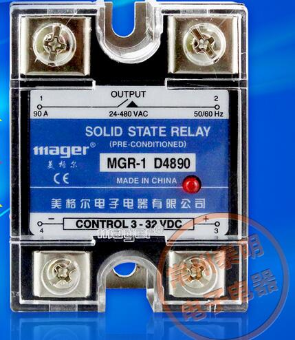 mager Genuine new original  single-phase solid-state relay 220V SSR MGR-1 D4890 DC control AC DC-AC 90A ssr mgr 1 d4860 meike er normally open type single phase solid state relay 60a dc ac