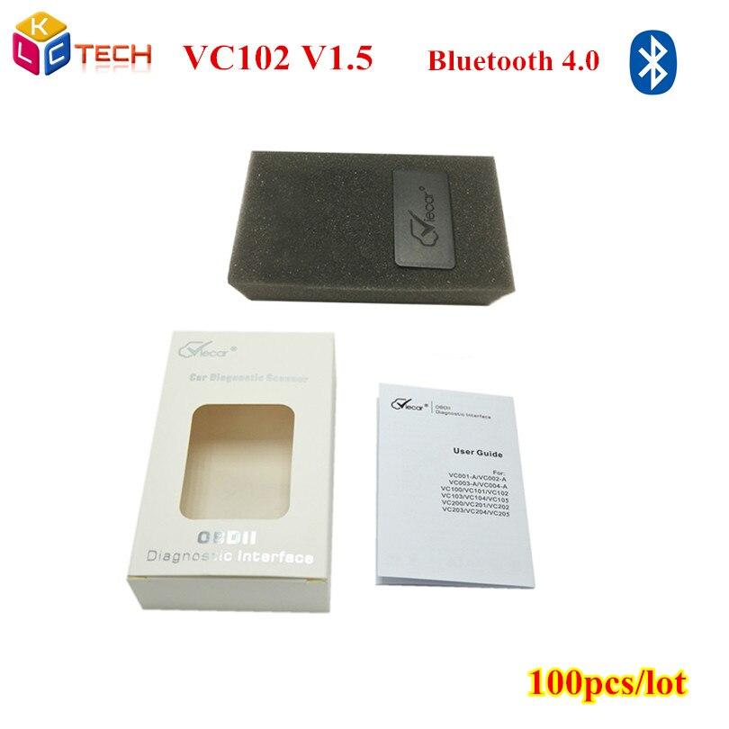 Цена за 100 шт./лот показателя viecar VC102 VC-102 V1.5 OBD2/OBDII показателя viecar мини ELM327 V 1.5 Bluetooth 4.0 для Android Крутящий момент автомобиль код сканер инструмент