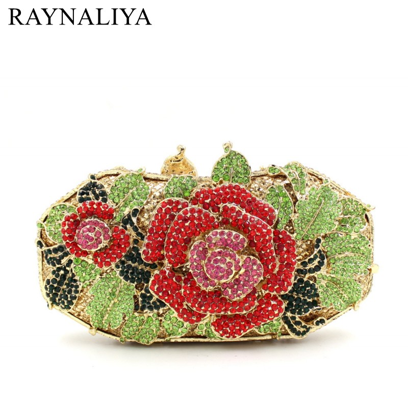 Women Luxury Rhinestone Clutch Evening Handbag Ladies Crystal Wedding Purses Dinner Party Bag Fashion Flower Purse SMYZH-E0284 2016 women fashion metallic rhinestone flower pattern crystal evening bag wedding bride clutch handbag