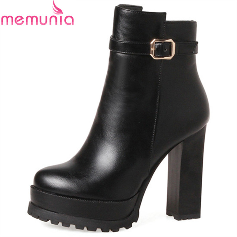 MEMUNIA PU soft leather womens boots sexy lady high heels shoes platform ankle boots for women party platform big size 34-43 memunia big size 34 44 high heels shoes woman pu soft leather platform boots female zip solid ankle boots for women round toe