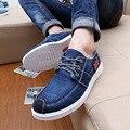 2016 Nova Moda Casual calças de Brim das Sapatas de Lona Homens Baixos Para ajudar Sapatos Denim Respirável Comforable Masculino Plana com Lace Up sapatos
