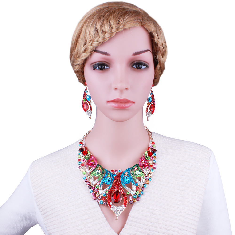 Bridal classics necklace sets mj 259 - Indian Jewelry Petunia Shape Color Crystal Rhinestone Necklace Earring Sets Fashion African Bridal Jewelry Sets