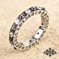 Cristal de circón de acero Inoxidable carta Romana gothic Lolita Cruz Anillos de la Flor para las mujeres anel Moda Joyería