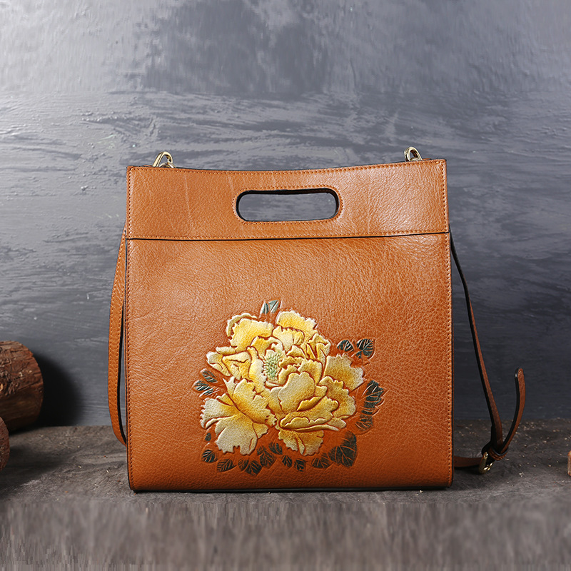 High-capacity Lady Handbags Genuine Leather Bags Hand-painted Peony Flower Embossing Women Shoulder Messenger Bag Casual Tote