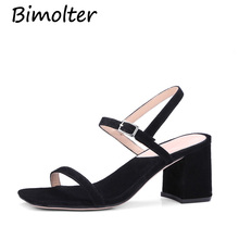 Bimolter 2018 Summer Fashion Sheep Suede Women High Heels Sandals Concise Solid Ankle Strap Leisure Shoes Woman Leather  PSSB002