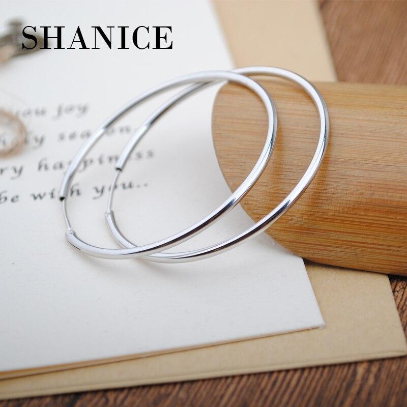 SHANICE Classic Round Hoop Earrings Genuine 925 Sterling Silver 10mm,15mm, 20mm, 30mm for Men Women Trendy Circle Earrings