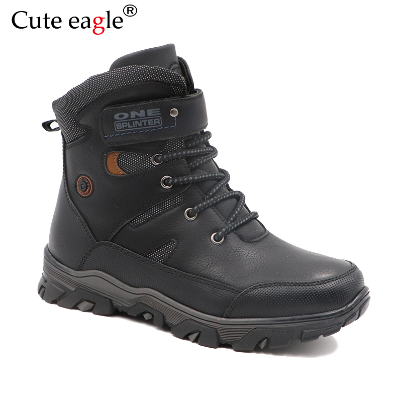 Winter Waterproof Boys Felt Boots Pu Leather Mid-Calf Children's Shoes Warm Plush Rubber Winter Snow Boots for Boys EU 36-41