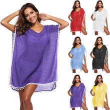 Pareo Beach Tunic Swimwear Women's Cover Up Women Ups For Beaches Capes Dress 2019 Supplies Cotton Linen Female Acetate Solid