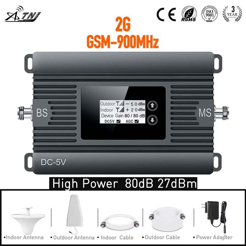 Nouveau produit! 80dBi gain 2G 900 mhz amplificateur GSM téléphone amplificateur de signal cellulaire répéteur complet