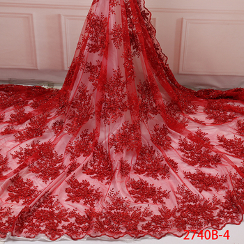 Wholesale French African Tulle Lace Fabric For Nigerian Wedding Red Color African Lace Fabric Embroidery QF2740B-4