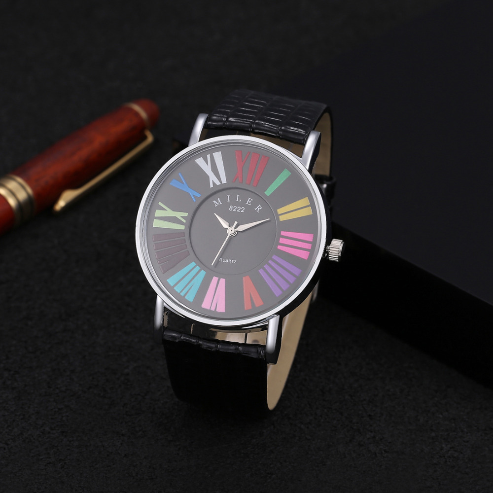 MILER Multicolor Roman Numerals Watch Women Watches Leather Ladies Watch Women's Watches Clock Saat Montre Femme Reloj Mujer