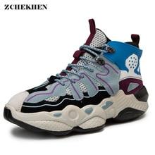 Hip Hop Mens chunky Sneakers hook loop Casual Shoes Tenis Sapato Masculino Retro high Platform Basket Man Walking
