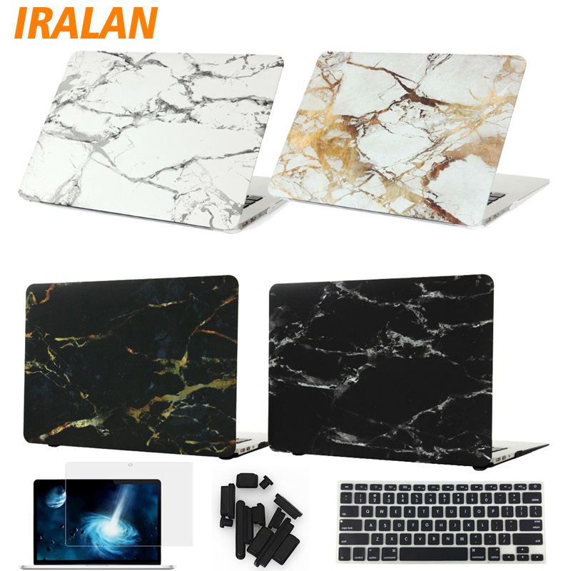 Marble Texture Laptop Case For Macbook Air 13 case For MacBook Pro 13 Retina 11 12 15 with touch bar free keyboard cover+film