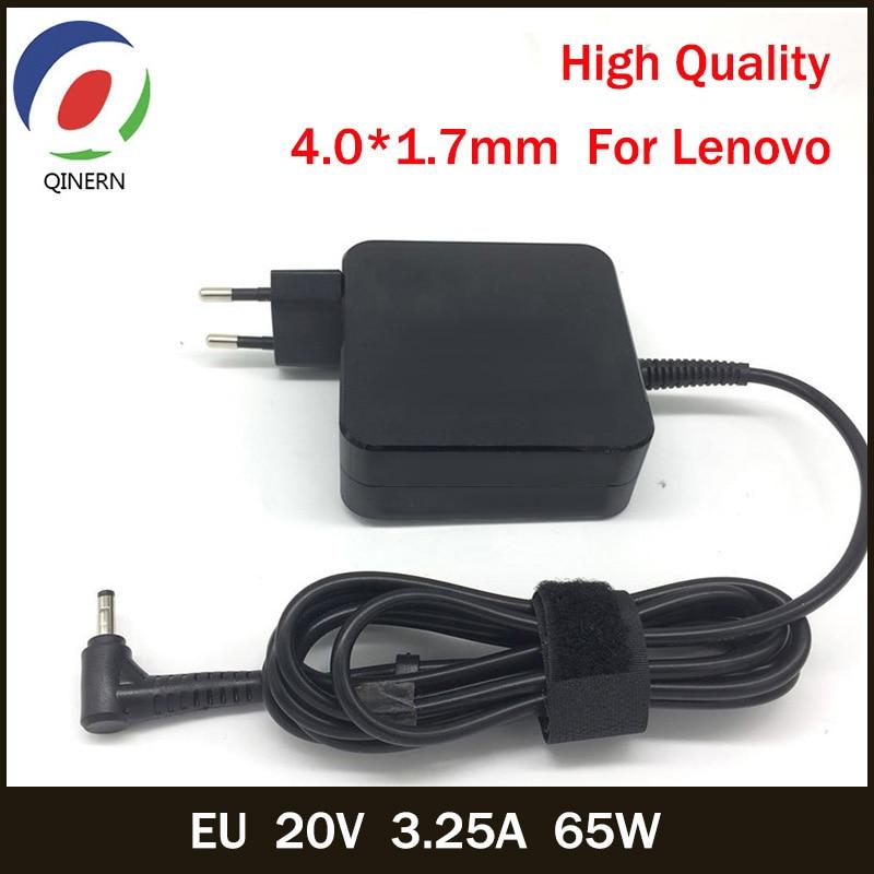 QINERN UE 20V 3.25A 65W 4.0*1.7 milímetros Laptop AC Carregador Para Lenovo IdeaPad 100-15 YOGA 710 510-14ISK B50-10 Notebook Adaptador de Energia