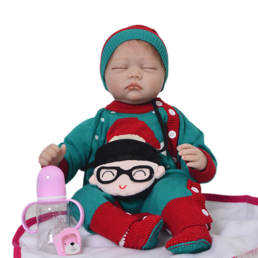 KEIUMI Realistic 22'' 55 cm Baby Alive Doll Soft Silicone Lifelike Sleeping Girl Babies Newborn Doll Children Play Toy Xmas Gift keiumi 22 55 cm realistic baby alive boy doll soft silicone vinyl lifelike reborn doll toy for toddler birthday xmas gifts