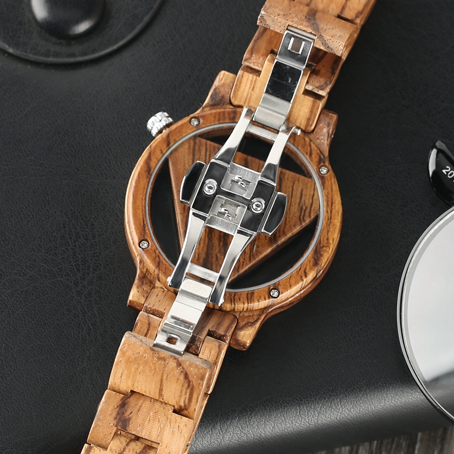 Unique Inverted Geometric Triangle Zebra Wood Watch Men Women Creative Hollow Dial Full Wooden Quartz Wristwatch Reloj de madera 2017 2018 Christmas Gifts Best Gifts (12)
