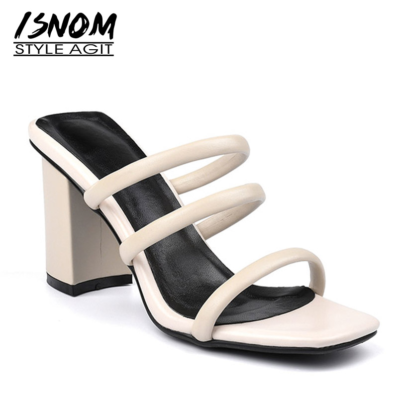 ISNOM Thick High Heels Slippers Woman Open Toe Footwear Fashion Slides Shoes Female Solid Mules Shoes