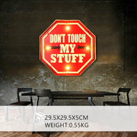 Don't Touch My Stuff LED Neon Signs Vintage Metal Painting For Bar Pub Cafe Wall Decor Retro Plaque Hanging Sign Decorative N050