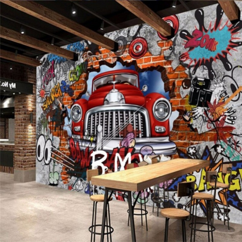 Online buy wholesale graffiti wall paper from china for 3d mural painting