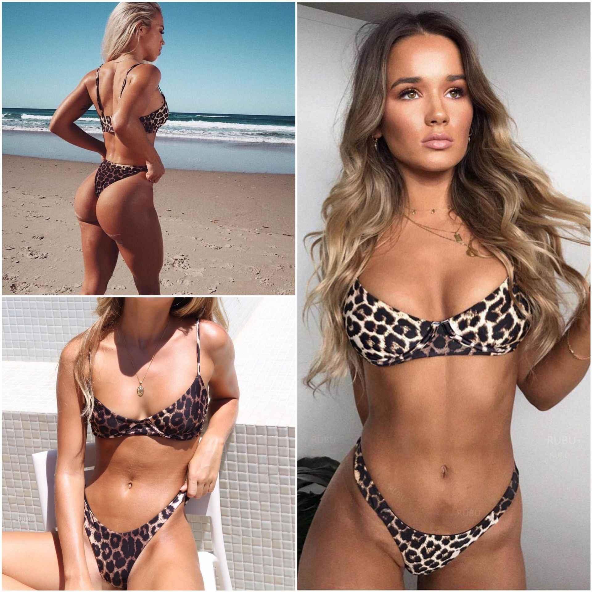 22f42d4b86db7 Bikini 2018 Maillot De Bain Femme Swimsuit Women Sexy Leopard Print Bikini  Set Bathing Suit Women