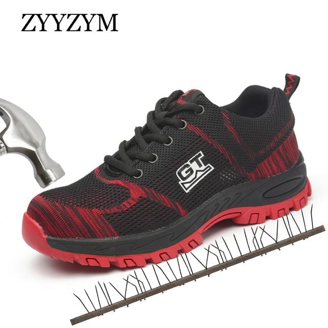 ZYYZYM 男性作業安全靴プラスサイズユニセックス屋外鋼つま先パンク証拠保護男安全靴