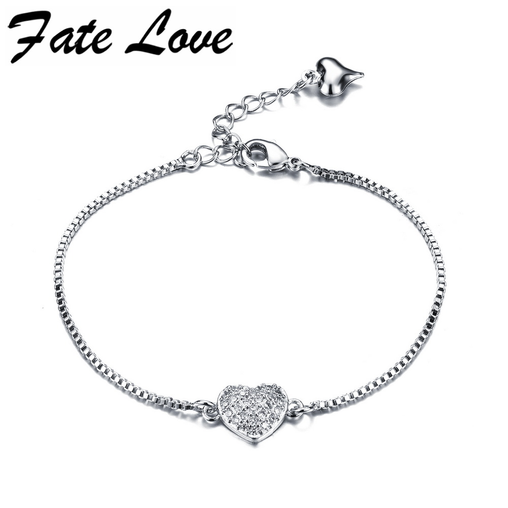 Top Quality OL Love Full Clear Crystal Heart White Gold Color Bracelet Austrian Crystal Charm Jewelry HD957