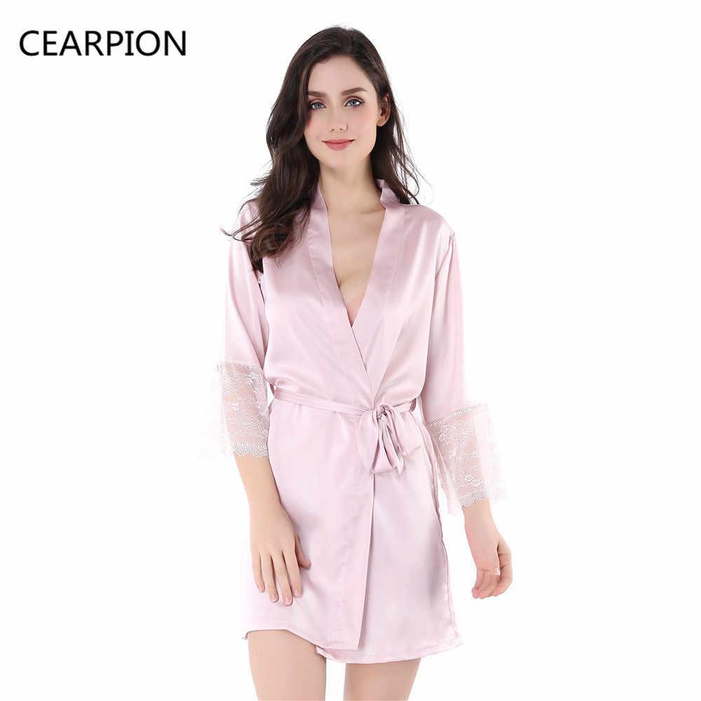 cd8322213095 CEARPION Women Robe Pajamas Gown Rayon Kimono Nightgown Wedding Bride  Bridesmaid Robes Sexy Long Sleeve Sleepwear