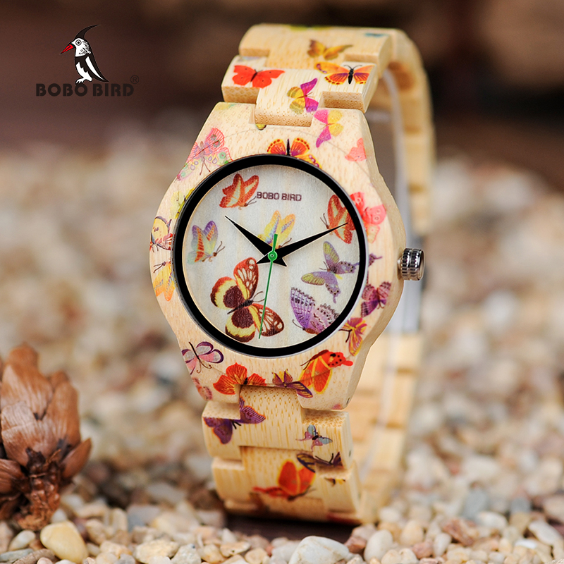 BOBO BIRD Ladies Wood Watch Kvinner Montre Femme Bambus Band Maleri Butterfly Quartz klokker i tre gaveeske OEM W-O20