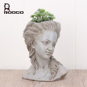 Image 2 - ROOGO thực vật mọng nước hoa đầu thanh lịch nữ Thần Hy Lạp cây cảnh Dụng cụ bào vườn nồi tay thợ thủ công Nhà Máy tính để bàn trang trí