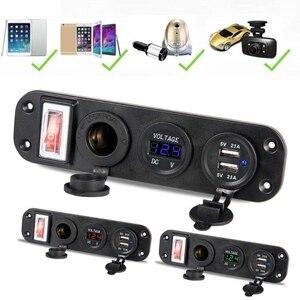 Image 3 - 자동차 충전기 듀얼 USB 어댑터 12V 담배 라이터 소켓 LED 전압계 스위치 2019 새로운