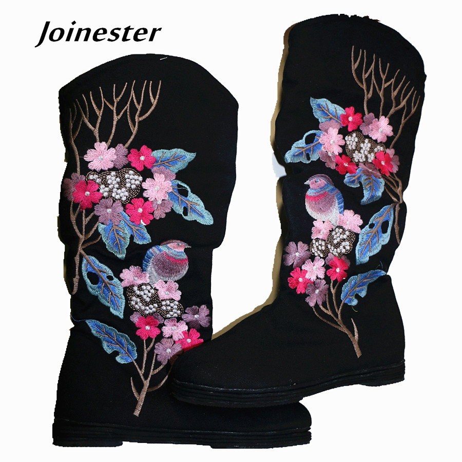 Women Fashion Floral Embroidered Mid-Calf Cotton Fabric Spring Boots Ethnic Round Toe Vintage Height Increase Boots ethnic embroidered black cami dress for women