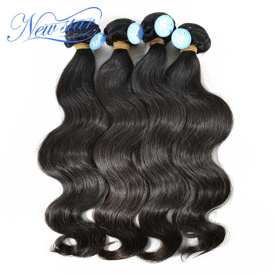 New Star Peruvian Body Wave Bundles 4Pcs Virgin Human Hair Thick Weave Extension Natural Color Hair Unprocessed Raw Hair Weaving