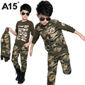 A15 niños ropa chicos 3 unids set toddler kids boy ropa set para Boy Primavera Otoño Camo Camuflaje Traje Deportivo 6 8 10 12 14 año