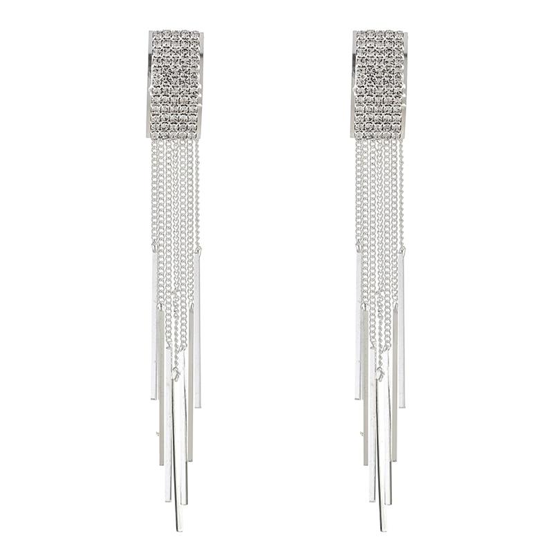 YFJEWE New Rhinestone Crystal Long Tassel Earrings for Women Bridal Drop Dangling Earrings Wedding Jewelry for women E627 in Drop Earrings from Jewelry Accessories