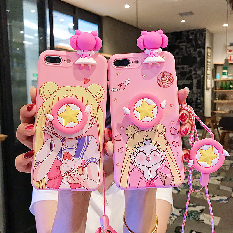 Cute beautiful girl face phone case for iPhone XXS XR XSMax 8 7 6 6S PluS red sesame street drop protection cover