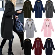S-5XL women long sleeve hooded zip-up tops blouse leisure autumn winter casual coat