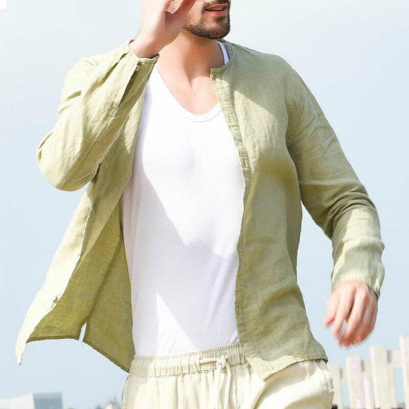 2019 neue Ankunft Shirts Männer Baumwolle Leinen Designer Marke Slim Fit Mann Shirts Stehen Lange Ärmel Shirts Mann Kleidung Sommer