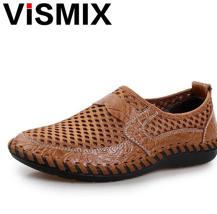 VISMIX Men Shoes 2018 Summer Breathable Mesh Shoes Mens Casual Shoes Genuine Leather Fashion Summer Shoes Man Soft Comfortable