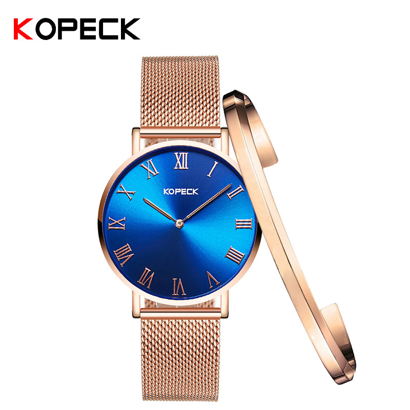 Kopeck Simple Fashion 6mm Women Wrist Watch Stainless Steel Blue Classic Dial Ladies Clock Luxury Women's Watches Gifts Bracelet 6 colors fashion rhinestone women jewelry watch vintage square mini dial bracelet fancy wrist watch for ladies gifts ll
